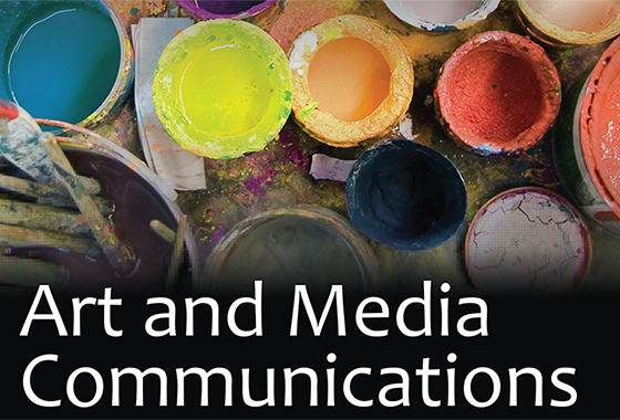 """Art and Media Communications"" text over image of paint buckets"